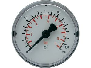 Dry 12 Bar Pressure Gauge/connection underside